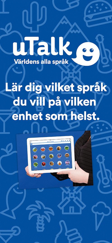 Blå platta, på den händer som håller ipad med u-talk-appen på. Text: Lär dig vilket språk du vill på vilken enhet som helst.